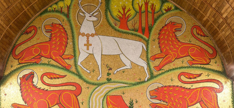 mosaïque cerf blanc, balade contée brocéliande