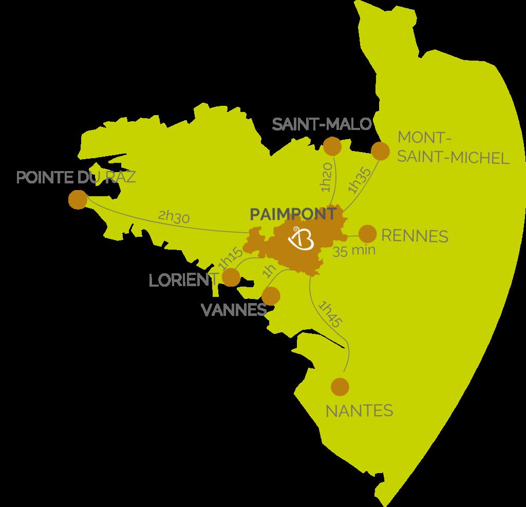 Brocéliande en Bretagne carte