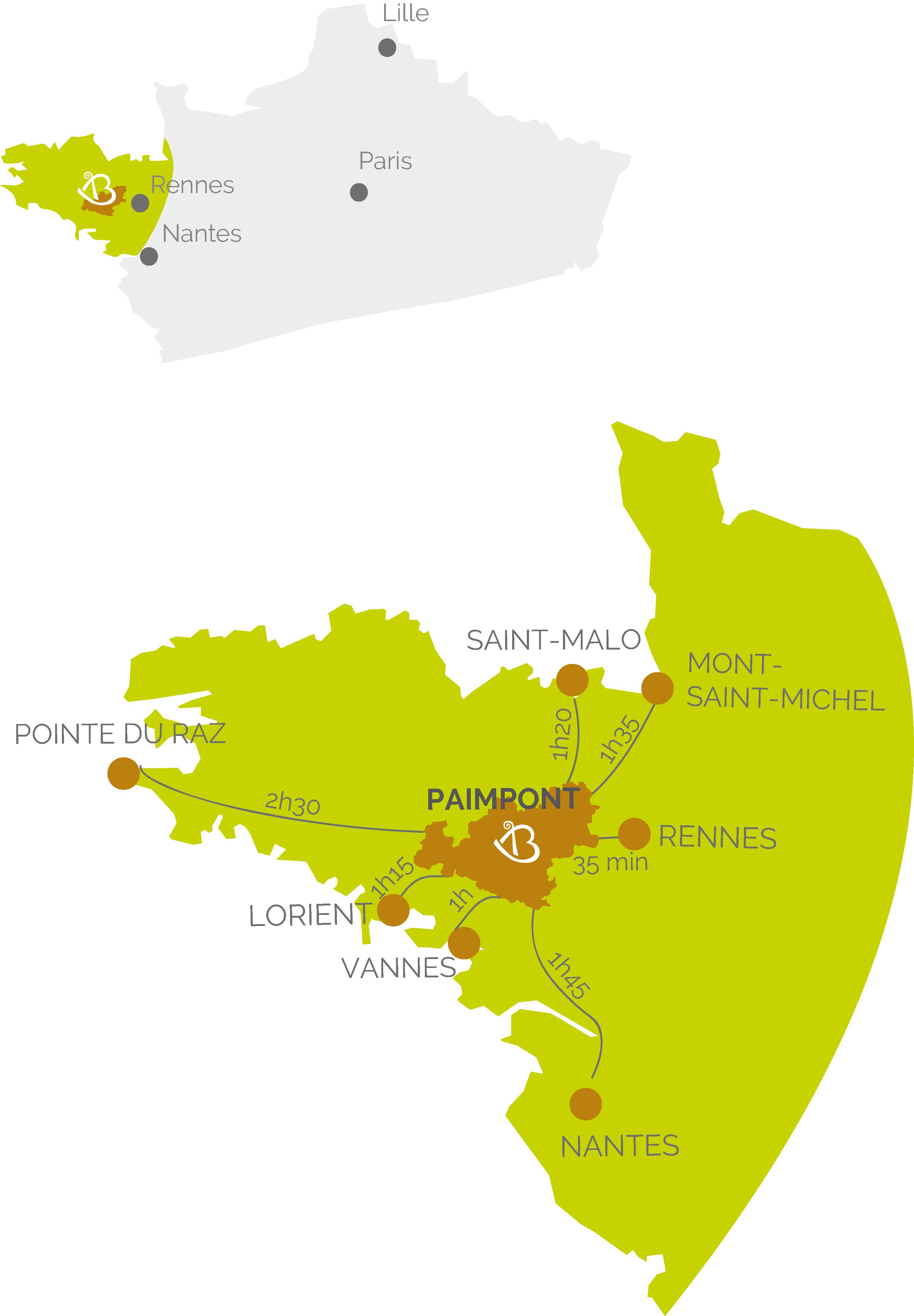 Carte Bretagne Broceliande.Carte De La Situation De La Bretagne En France Office De