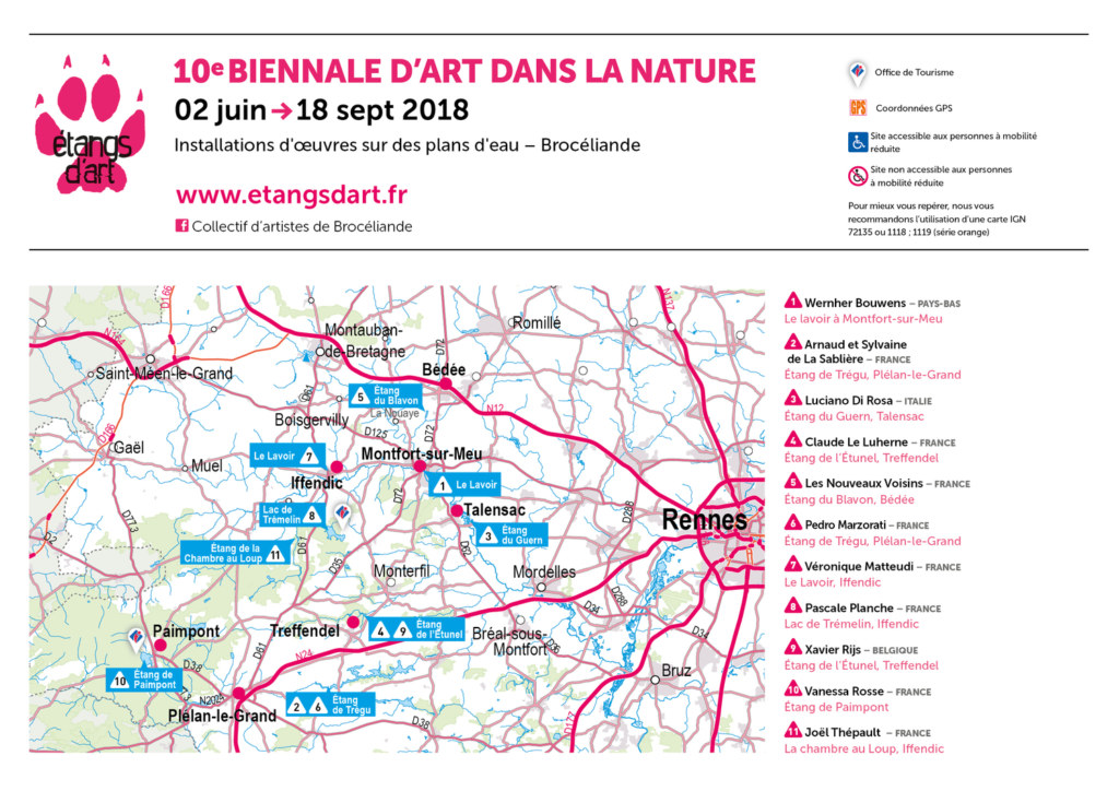 Carte des installations d'Etangs d'Art 2018