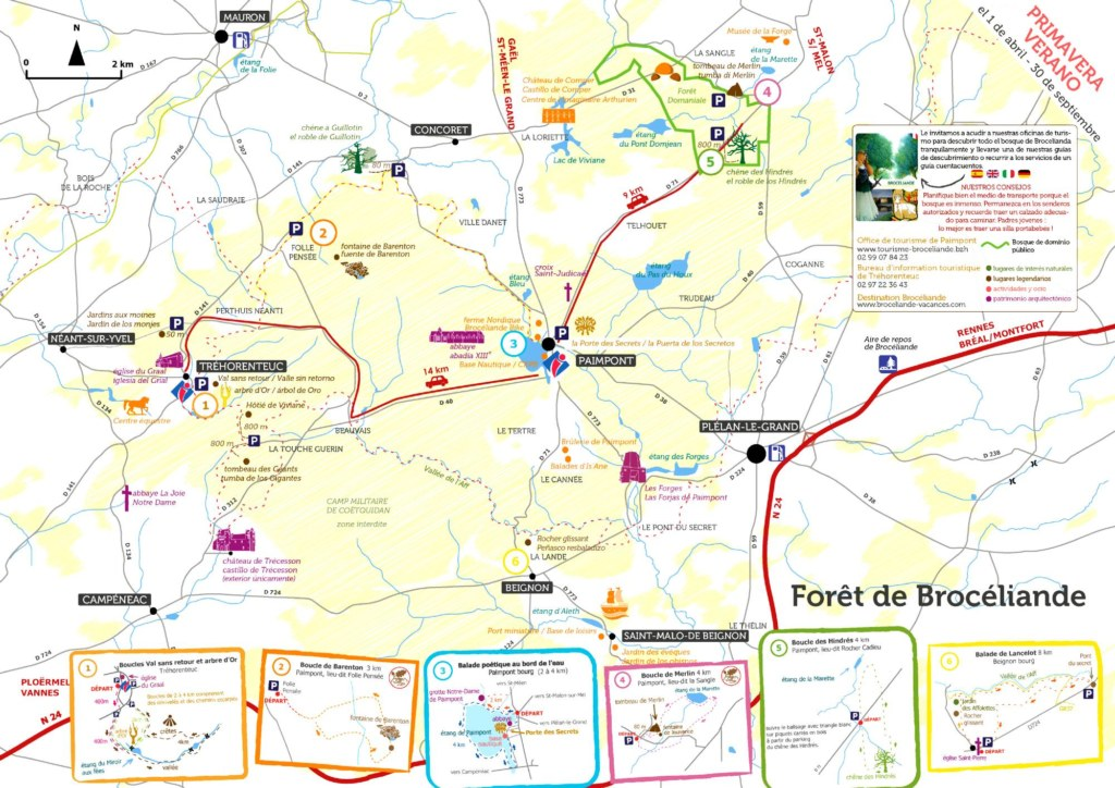 carte forêt Brocéliande été espagnol