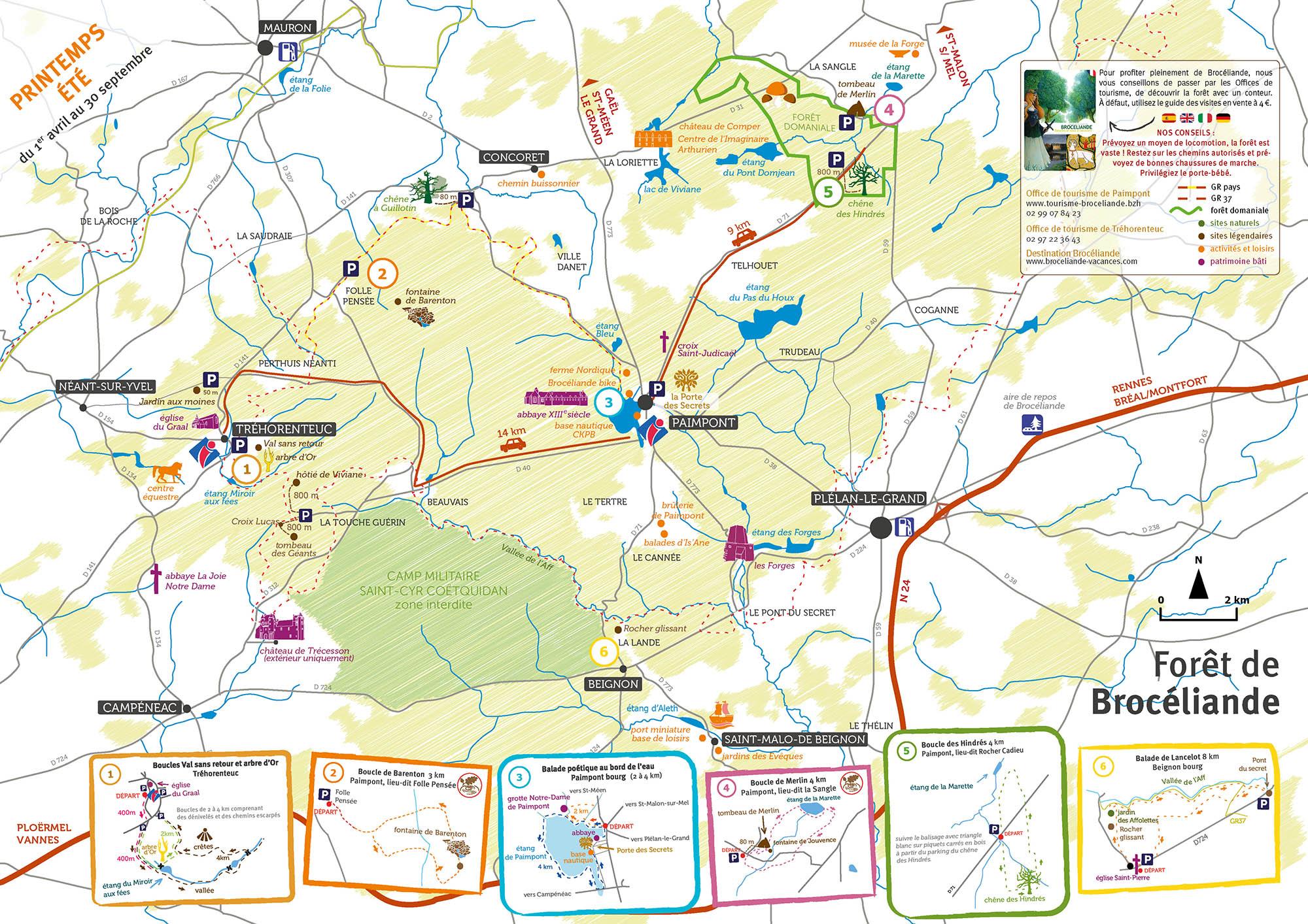 foret de paimpont carte carte forêt de Brocéliande printemps été   Office de Tourisme de